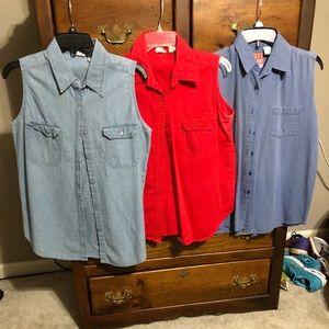 Women's sleeveless button up shirts